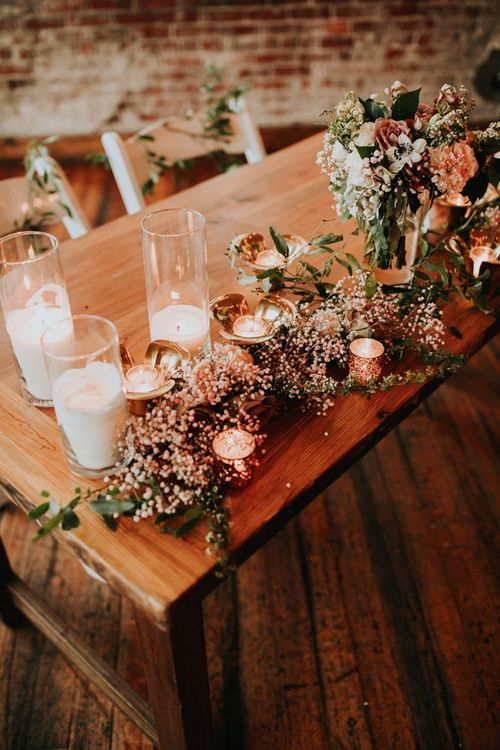 Romantic Wedding Flowers and Candle Wedding Decor