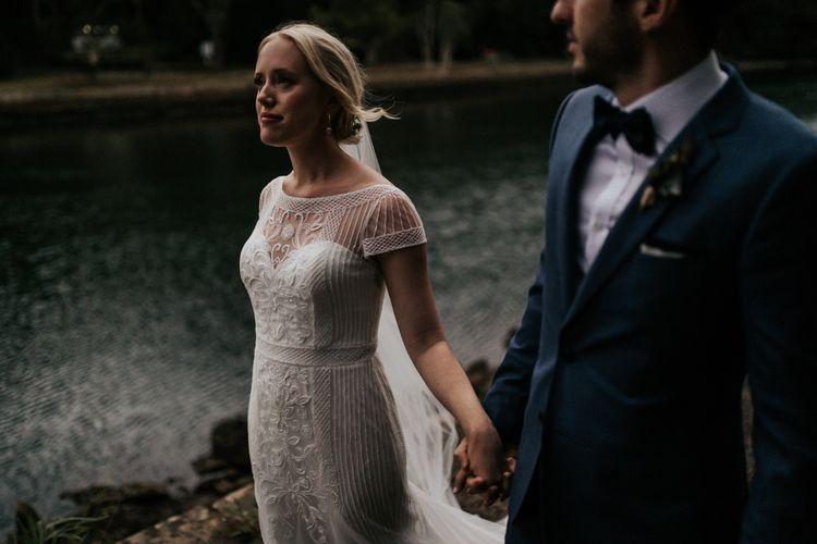 Bride in Beaded Rosa Clara Wedding Dress