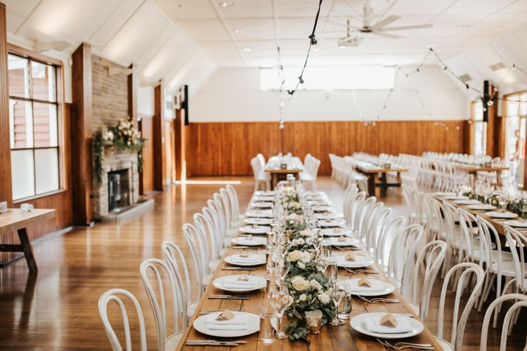 Long Reception Tables with Greenery Table Runner