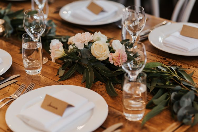Foliage and Rose Floral Table Runner