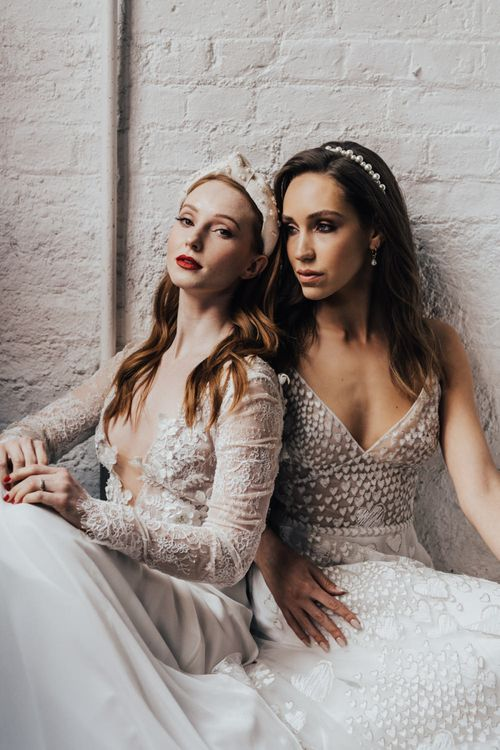 Two Stylish Brides in Lace and Embroidered Wedding Dresses from Morgan Davies Bridal