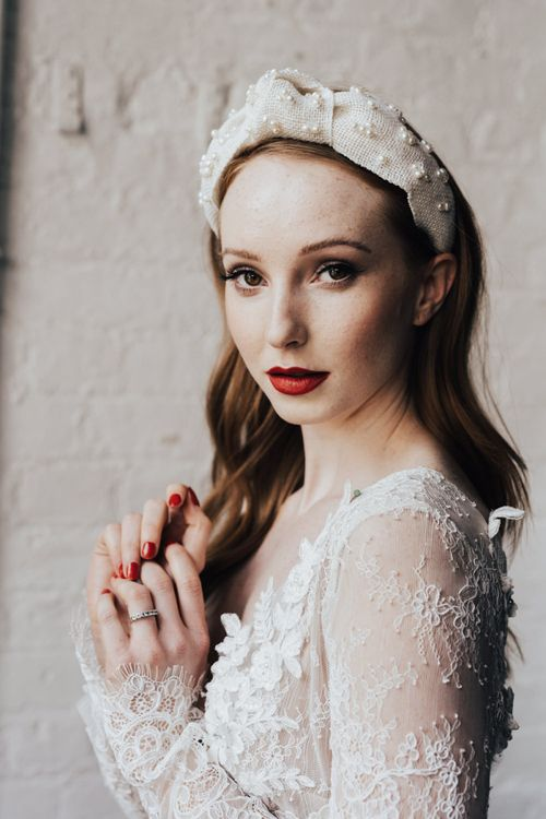 Bride in Turban Headband, Red Lipstick and Nails and Long Sleeve Lace Wedding Dress from Morgan Davies Bridal
