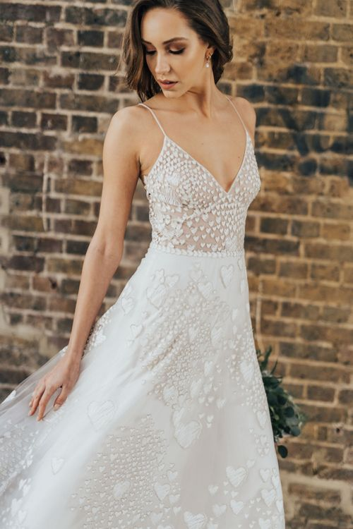 Bride in Heart Embroidered Wedding Dress with Fitted Bodice and Thin Straps