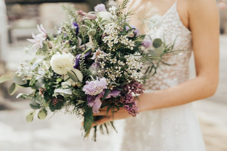 Feminine Lilac and White Wedding Bouquet with Foliage