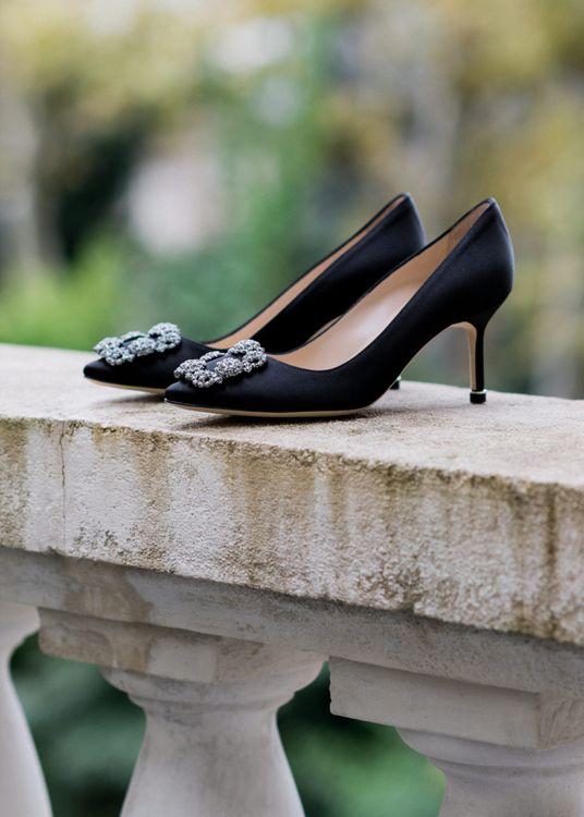 Black Manolo Blahnik Hangisi Wedding Shoes