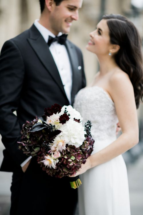 Black and White Wedding Bouquet  with Hydrangeas and Lillies