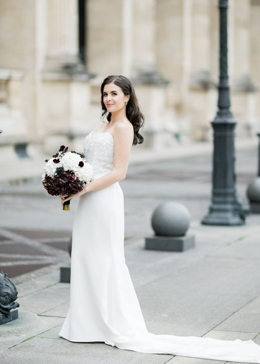 Glamorous Bride in Tara Keely Bridal Gown with Black and White Bridal Bouquet