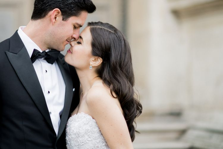 Intimate Bride and Groom Portrait Embracing