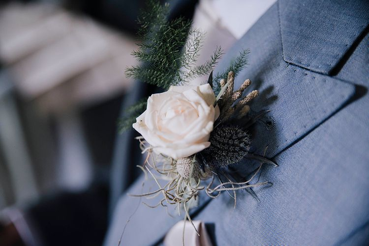 White Rose Buttonhole   Wedding Weekend at West Lexham Manor, Norfolk   Megan Duffield Photography