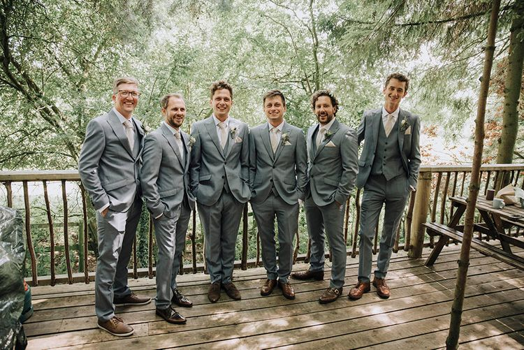 Grey Moss Bros Groomsmen Suits   Wedding Weekend at West Lexham Manor, Norfolk   Megan Duffield Photography