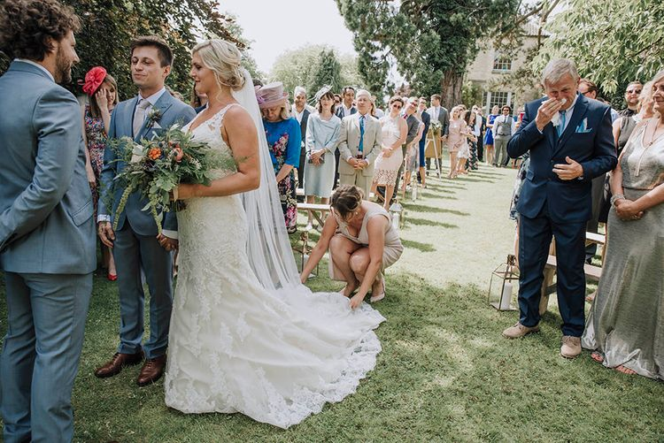 Outdoor Wedding Ceremony   Bride in Lace Mori Lee Gown   Groom in Grey Moss Bros Suit   Wedding Weekend at West Lexham Manor, Norfolk   Megan Duffield Photography