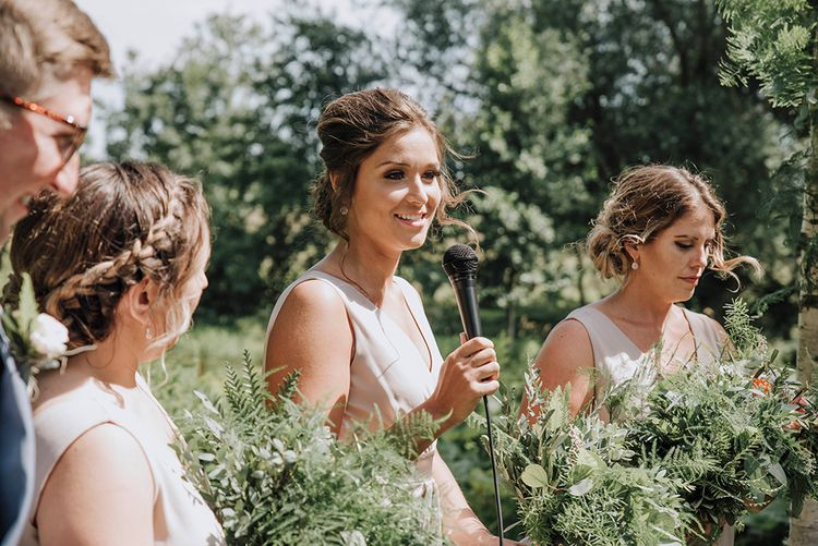 Outdoor Wedding Ceremony   Bridesmaid in Pink TFNC Dress   Wedding Weekend at West Lexham Manor, Norfolk   Megan Duffield Photography