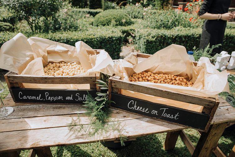 Popcorn Bar   Wedding Weekend at West Lexham Manor, Norfolk   Megan Duffield Photography