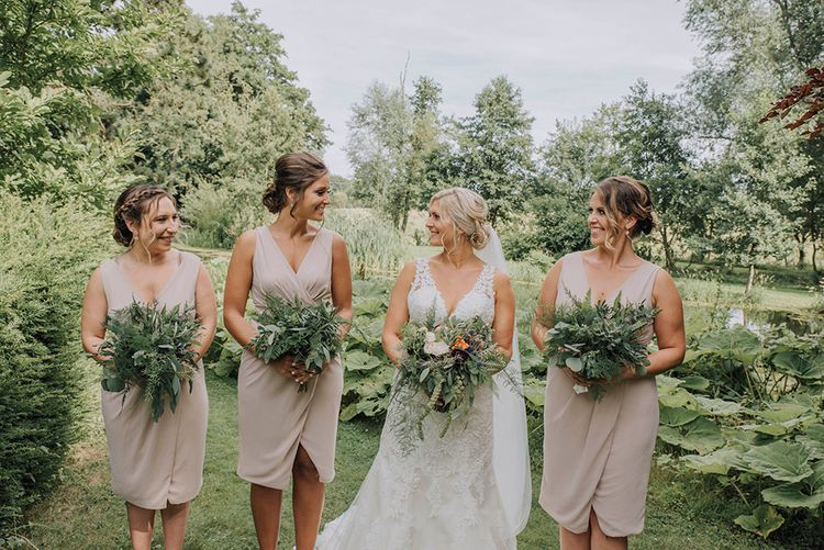 Bridal Party   Bridesmaids in Blush Pink TFNC Dresses   Bride in Lace Mori Lee Wedding Dress   Wedding Weekend at West Lexham Manor, Norfolk   Megan Duffield Photography