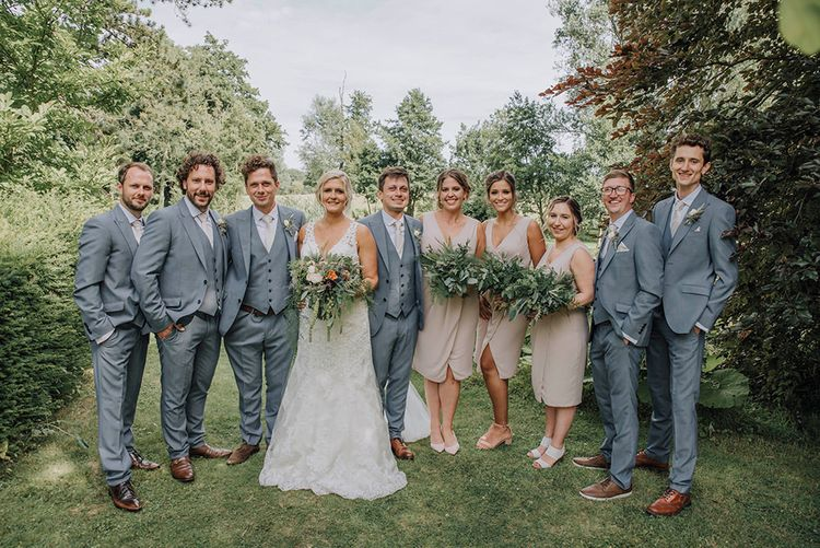 Wedding Party   Bridesmaids in Blush Pink TFNC Dresses   Bride in Lace Mori Lee Wedding Dress   Groomsmen in Light Grey Moss Bros Suits   Wedding Weekend at West Lexham Manor, Norfolk   Megan Duffield Photography