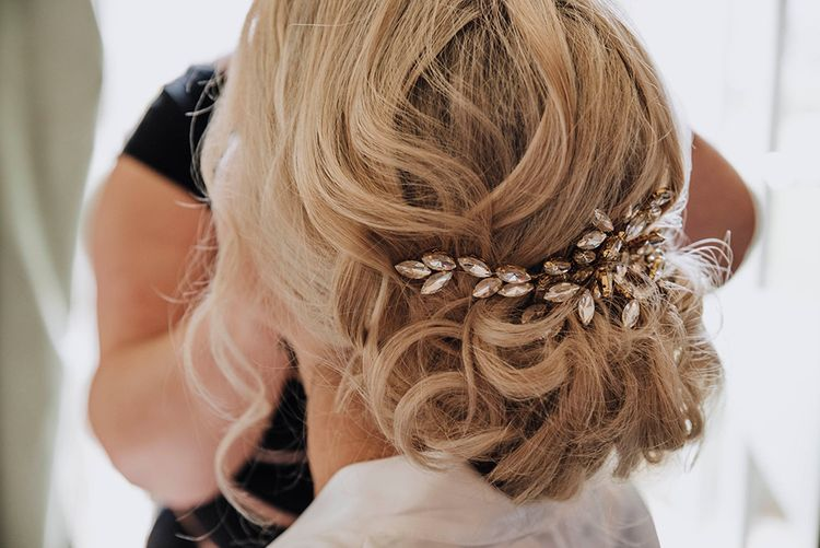 Bridal Up Do with Hair Vine   Wedding Weekend at West Lexham Manor, Norfolk   Megan Duffield Photography