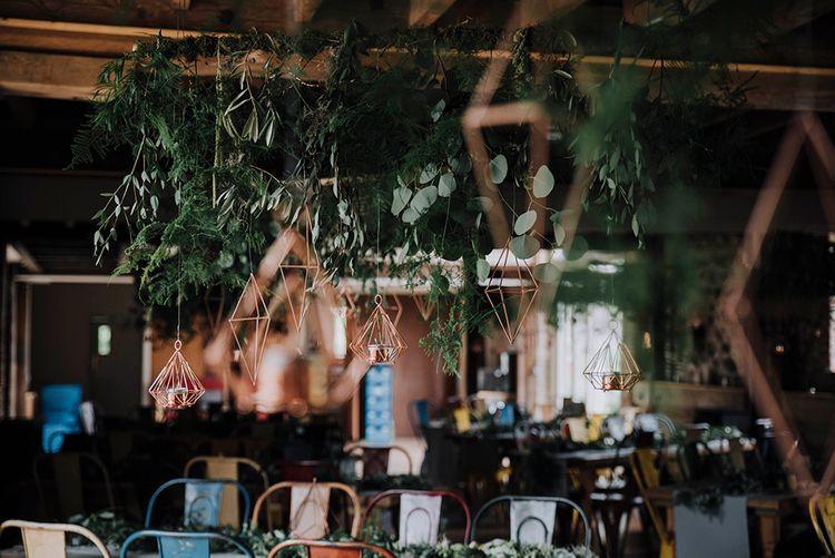 Hanging Greenery Installation & Geometric Shapes Wedding Decor   Wedding Weekend at West Lexham Manor, Norfolk   Megan Duffield Photography