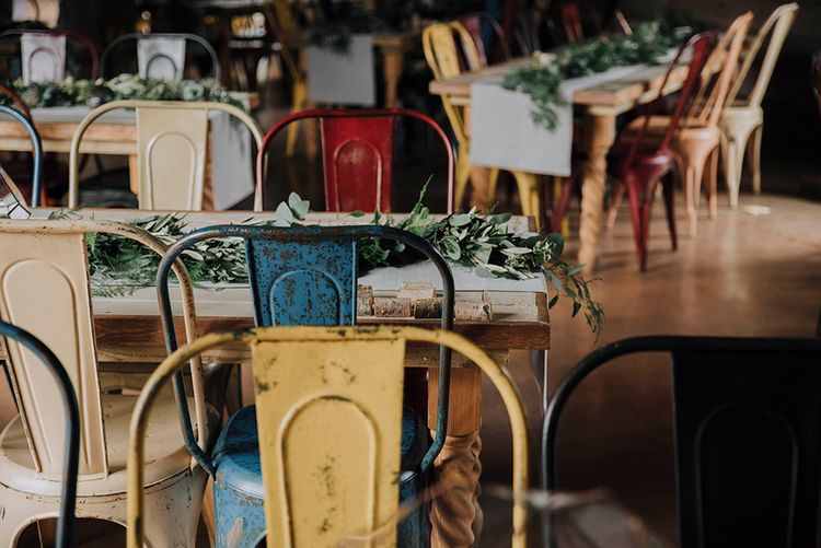 Industrial Chairs   Wedding Weekend at West Lexham Manor, Norfolk   Megan Duffield Photography