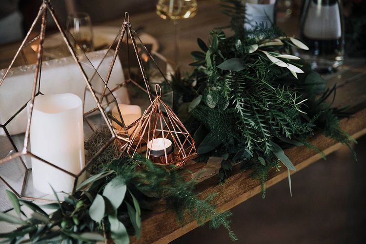 Copper Geometric Terrarium Wedding Decor & Greenery Garland   Wedding Weekend at West Lexham Manor, Norfolk   Megan Duffield Photography