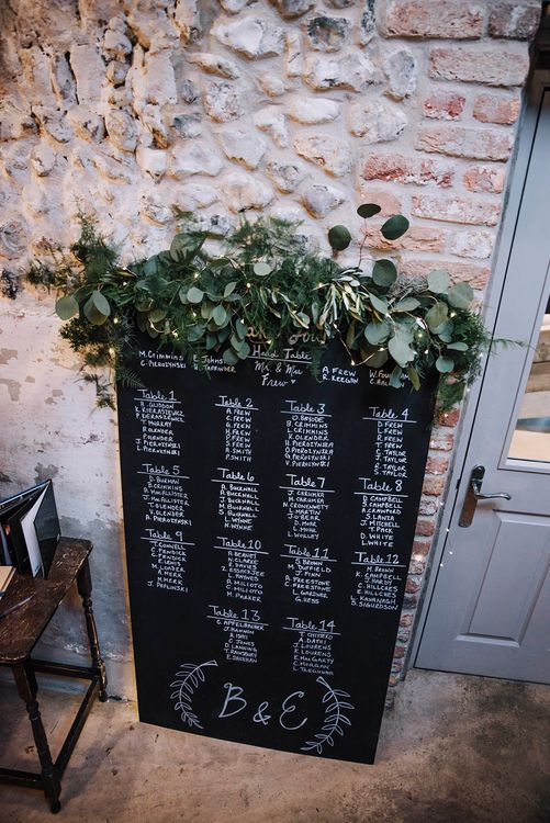 Chalboard Wedding Sign with Floral Decor   Wedding Weekend at West Lexham Manor, Norfolk   Megan Duffield Photography