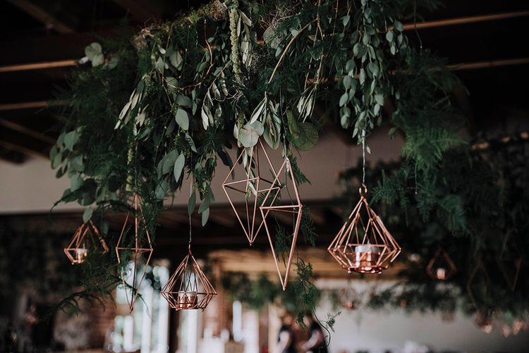 Greenery Floral Installation and Copper Geometric Decor   Wedding Decor   Wedding Weekend at West Lexham Manor, Norfolk   Megan Duffield Photography