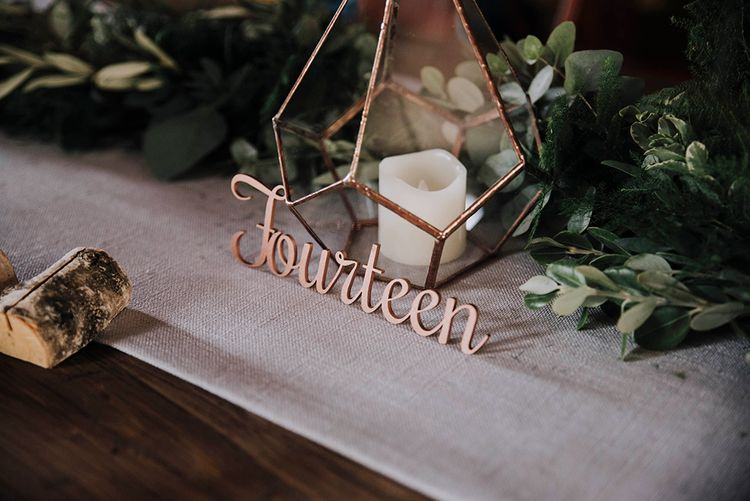 Laser Cut Wooden Table Number Signs   Wedding Weekend at West Lexham Manor, Norfolk   Megan Duffield Photography