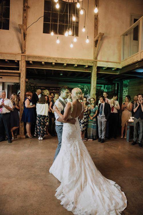 First Dance   Bride in Mori Lee Wedding Dress   Groom in Light Grey Moss Bros Suit   Wedding Weekend at West Lexham Manor, Norfolk   Megan Duffield Photography