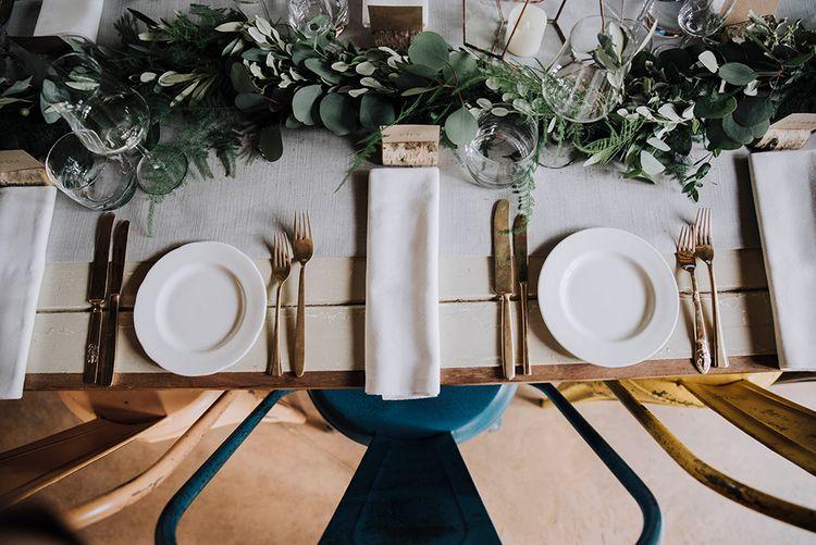 Elegant Place Setting   Wedding Weekend at West Lexham Manor, Norfolk   Megan Duffield Photography
