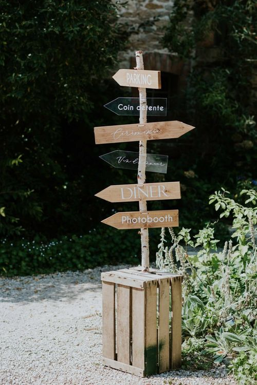Wooden wedding signs with perspex table plan