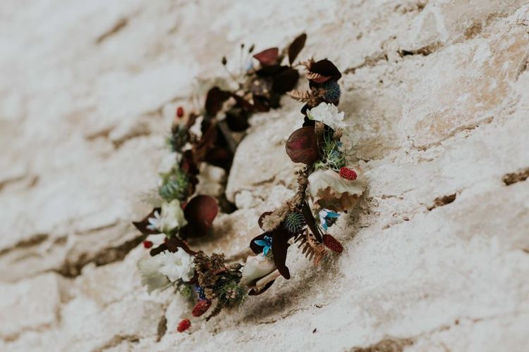 Dried flower crown for bride