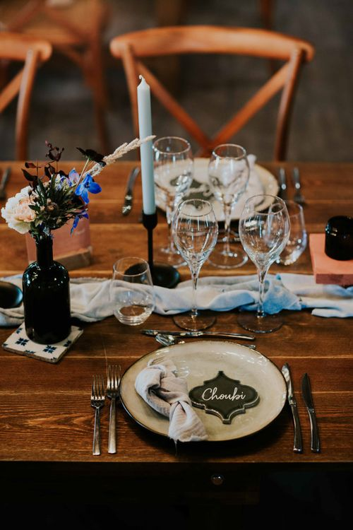 Wedding place setting with tile place names