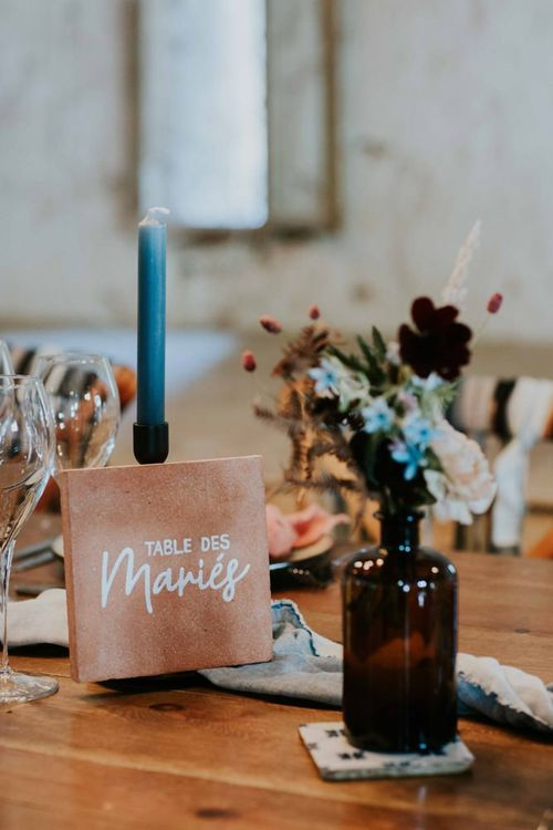 Tile table numbers and names with wild flowers