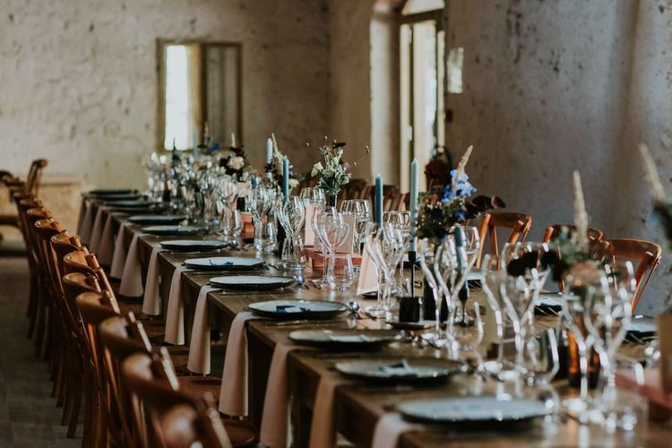Long wedding tables with perspex table plan