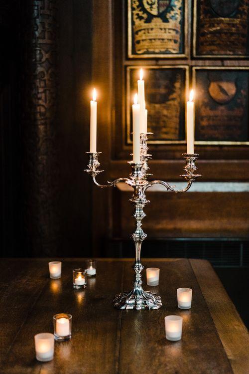 Silver Candelabra | Candle Lit Christmas Wedding at Gray's Inn London with Christmas Carols & Festive Wreaths | John Barwood Photography