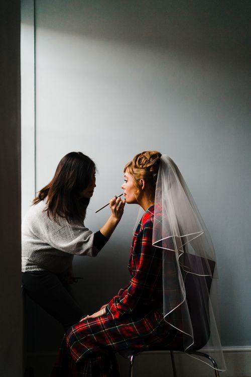 Wedding Morning Bridal Preparations | Wedding Makeup | Candle Lit Christmas Wedding at Gray's Inn London with Christmas Carols & Festive Wreaths | John Barwood Photography