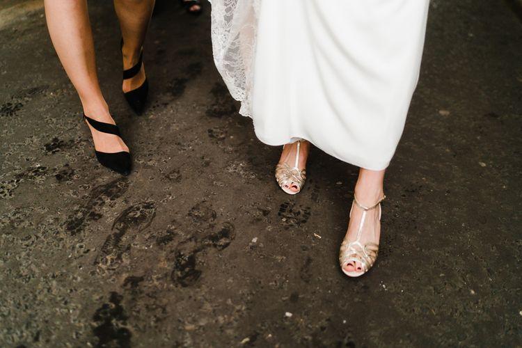 Bridal Shoes | Candle Lit Christmas Wedding at Gray's Inn London with Christmas Carols & Festive Wreaths | John Barwood Photography