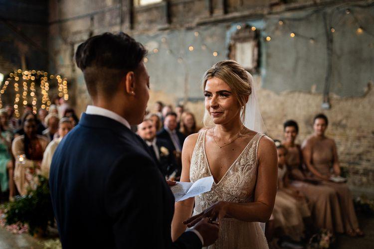 Asylum Wedding Ceremony with Bride in Romantic Flora Mila Wedding Dress  Listening to Her Brides Wedding Vows