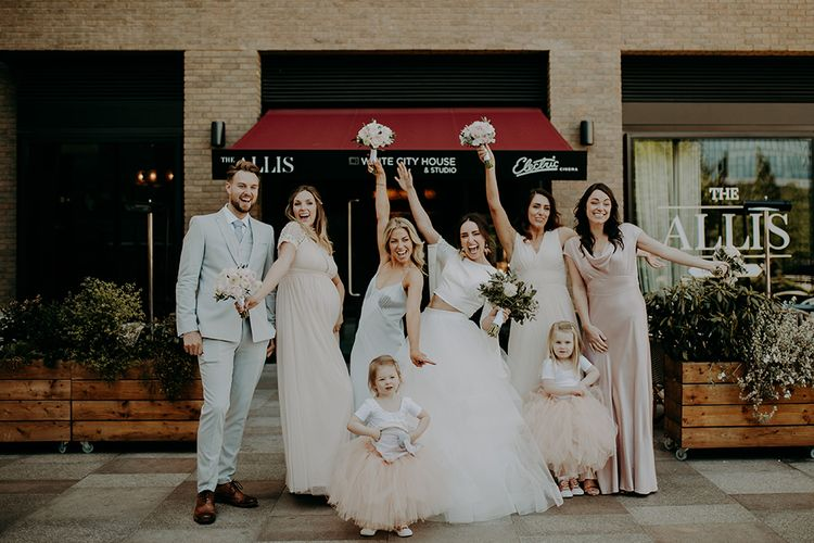 Bride in Sassi Holford; Tamara Top & Fearn Skirt and with Bridesmaids in Ghost & ASOS Dresses