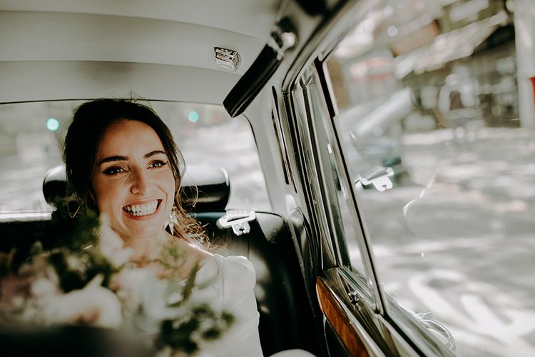 Happy Bride on The Way to The Wedding Ceremony