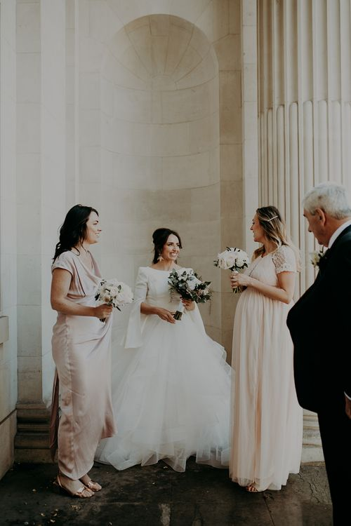 Bride in Sassi Holford; Tamara Top & Tulle Fearn Skirt and with Bridesmaids in Ghost & ASOS Dresses