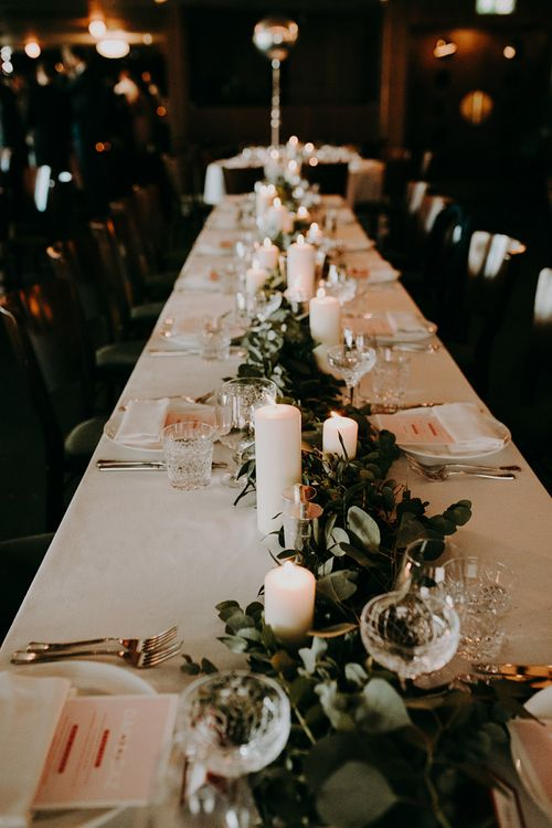 Greenery Table Runner with Church Candles