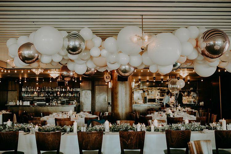 White and Silver Balloon Cloud Wedding Decor