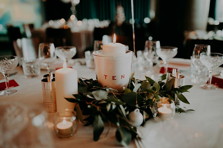 Candle and Greenery Skirt Centrepiece