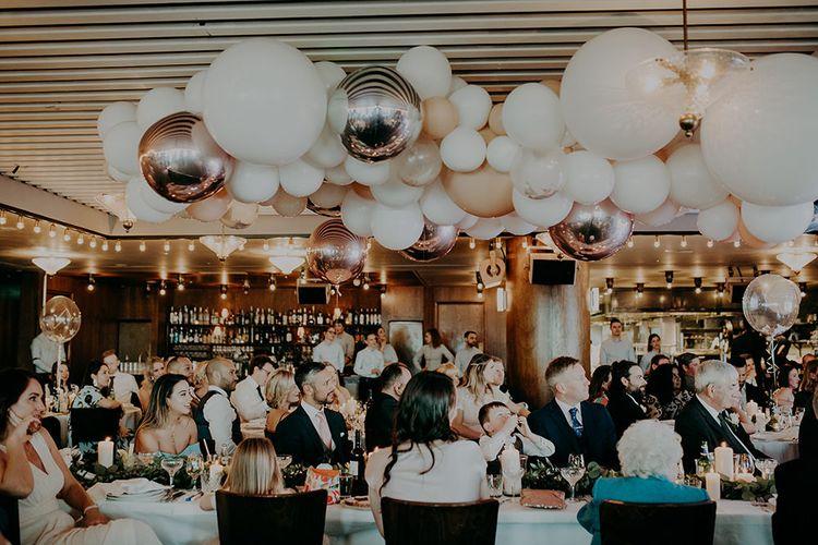 Wedding Reception with White,  Silver, Rose Gold & Beige Balloon Cloud Wedding Decor