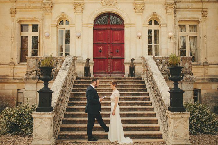Bride and groom at Chateau de la Valouze wedding