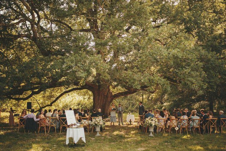 Outdoor ceremony at Chateau de la Valouze