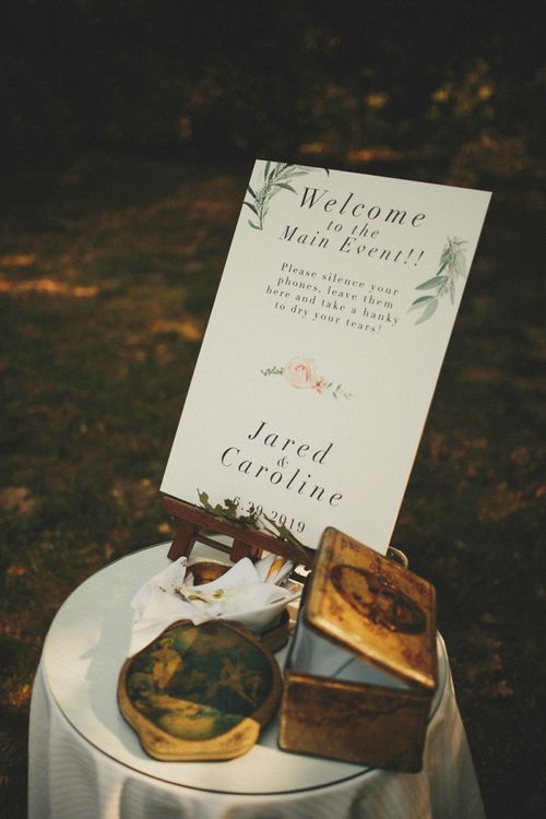 Wedding sign for unplugged ceremony