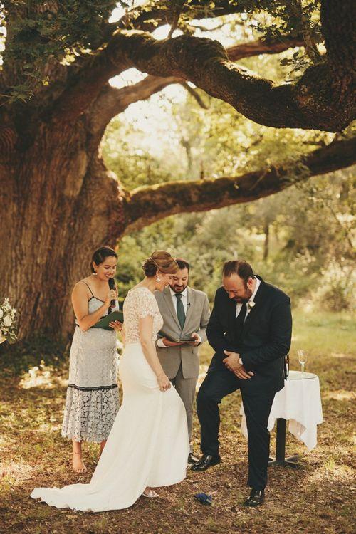 Outdoor wedding ceremony at Chateau de la Valouze