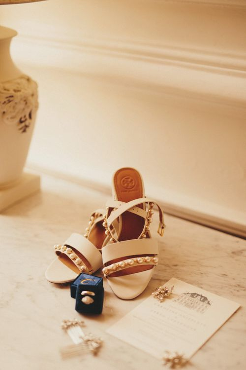 Nude wedding shoes with Sarah Seven bride dress