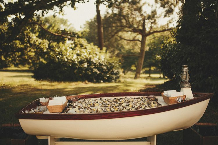 Oyster bath for guests at French wedding
